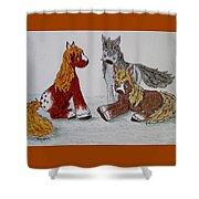 Three Little Ponies Shower Curtain