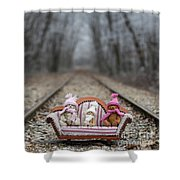 Three Little Teddy Bear Sit In A Sofa In The Middle Of The Winter Forest Shower Curtain