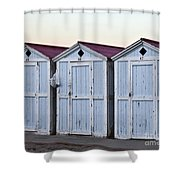 Three Modello Beach Cabanas Shower Curtain
