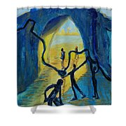 Three Moments. Second Moment Walking And Dancing Shower Curtain