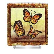 Three Monarch Butterflies Shower Curtain
