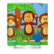 Three Monkeys No Evil Shower Curtain