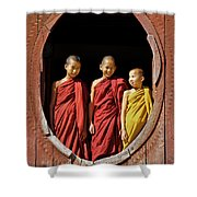 Three Monklets Shower Curtain