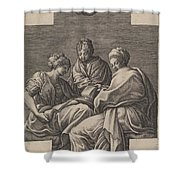 Three Muses And A Gesturing Putto Shower Curtain