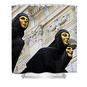 Three Muses On The Lithuanian National Dramatic Theatre In Vilnius Shower Curtain