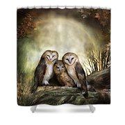 Three Owl Moon Shower Curtain by Carol Cavalaris