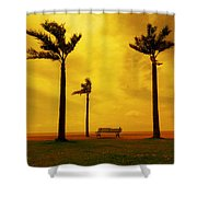 Three Palm Trees And A Bench Shower Curtain