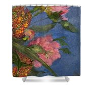 Three Peonies Shower Curtain