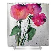 Three Pink Flowers 2 Shower Curtain