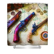 Three Pistoles On A Map Shower Curtain