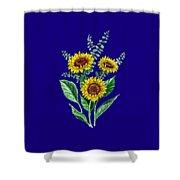 Three Playful Sunflowers Shower Curtain