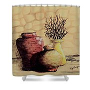 Three Pots And Twigs Shower Curtain