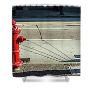 Three Red Lines Shower Curtain