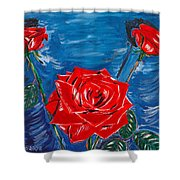 Three Red Roses Four Leaves Shower Curtain