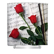Three Red Roses  Shower Curtain