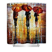 Three Red Umbrellas Shower Curtain