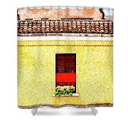 Three Red Windows With Flowers Of A Typically Italian House. Shower Curtain