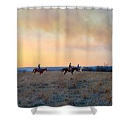 Three Riders In The Kansas Flint Hills Shower Curtain