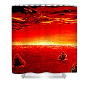 Three Rocks In Sunset Shower Curtain