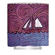 Three Sails And The Wind Shower Curtain