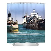 Three Ships In The Harbor Shower Curtain
