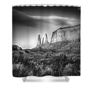 Three Sisters Formation At Monument Valley Shower Curtain
