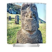 Three Standing Moai Statues Shower Curtain