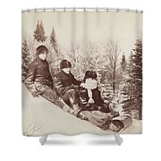 Three Tobogganers On A Snowy Hill Shower Curtain