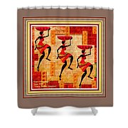 Three Tribal Dancers L A With Decorative Ornate Printed Frame. Shower Curtain