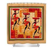 Three Tribal Dancers L B With Alt. Decorative Ornate Printed Frame. Shower Curtain