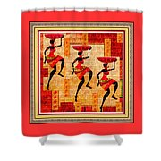 Three Tribal Dancers L B With Decorative Ornate Printed Frame Shower Curtain