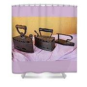 Three Vintage Irons Shower Curtain