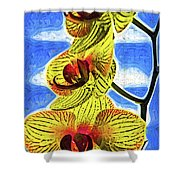 Three Yellow Orchid Blooms Shower Curtain