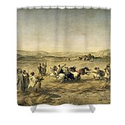 Threshing Wheat In Algeria Shower Curtain