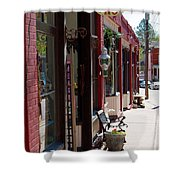 Thrift Shop And Sign In Manitou Springs Shower Curtain