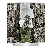 Through The Castle Window Shower Curtain