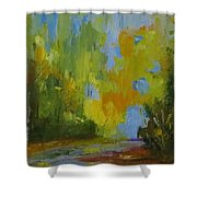 Through The Woods Abstractly Shower Curtain