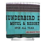 Thunderbird Inn -  Iconic Sign In Wildwood Shower Curtain