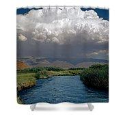 2a6738-thunderhead Over Owens River  Shower Curtain