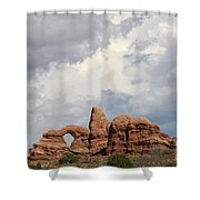 Thunderstorm Clouds Over Turret Arch Shower Curtain