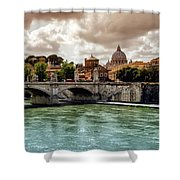 Tiber River, Ponte Sant'angelo And St. Peter's Cathedral, Roma, Italy Shower Curtain