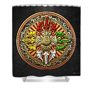 Tibetan Double Dorje Mandala Shower Curtain