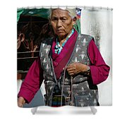 Tibetan Grandmother In Meditation Shower Curtain