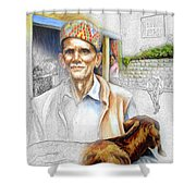 Tibetan Refugee Digital Art Shower Curtain