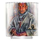 Tibetan Refugee - Vignette Shower Curtain