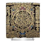 Tibetan Thangka - Tibetan Astrological Diagram Shower Curtain
