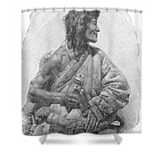 Tibetan With Prayer Wheel Shower Curtain