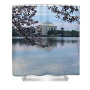 Tidal Basin Blossoms - Jefferson Memorial Shower Curtain