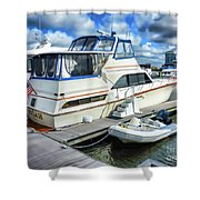 Tidewater Yacht Marina 5 Shower Curtain by Lanjee Chee