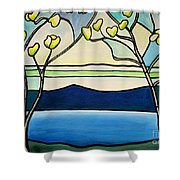 Tiffany And Blossoms Stained Glass Shower Curtain